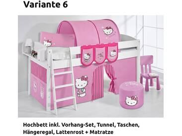 Hochbett Spielbett IDA Hello Kitty Rosa, mit Vorhang, weiß, Variante 6 - Rosa