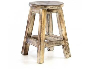 Divero Vintage Hocker 40cm geflammt massiv Holz Sitzhocker Schemel Blumentisch