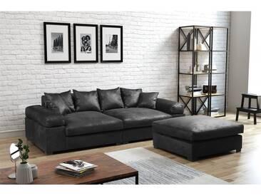 Big Sofa Megasofa Riesensofa Arezzo - Vintage Schwarz inkl.Hocker - Schwarz