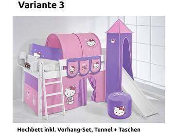 Hochbett Spielbett IDA Hello Kitty Lila, mit Turm, Rutsche und Vorhang, weiß, Variante 3 - Lila