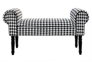Retro Bank audrey | 100 cm, schwarz-weiß | Sitzbank, Hahnentritt - schwarz