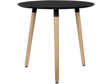 [en.casa]® Esstisch Rund Schwarz [H:75cmxØ80cm] Holz Tisch Retro Küchentisch - schwarz