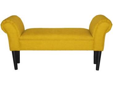 Vintage Sitz Möbel Bank Polster Textil Armlehnen Wohn Zimmer Beistell Hocker gelb BHP B412459-13