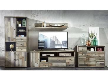 Wohnwand Wohnzimmer-Set 5 tlg. Schrank Kommode Tisch Wandregal vintage shabby