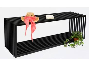 Bank D-Stil 150cm Modern Gartenbank 10103 Sitzbank aus Metall Eisen Blumenbank - schwarz