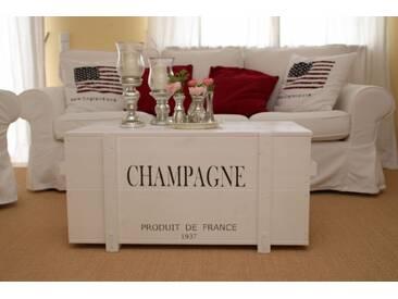 Holzkiste Truhe Couchtisch Vintage Shabby Landhaus Massivholz alt weiss - Champagne