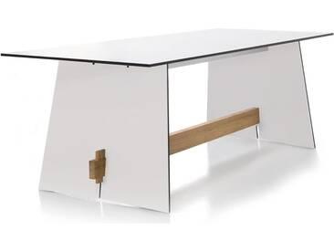 Conmoto Tension - Tisch 220 x 90 x 73 cm HPL weiss - Kanten schwarz - Traverse aus Teak - Outdoorti