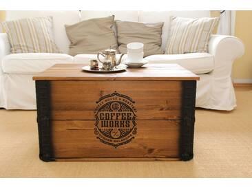 Truhe Coffeeworks Couchtisch Holzkiste Vintage ShabbyChic Landhaus Massivholz alt Antikbraun