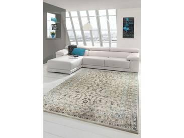 Orientteppich Design Wohnzimmerteppich modern Vintage mit Fransen Beige
