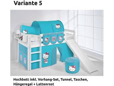 Hochbett Spielbett Jelle Hello Kitty Türkis mit Rutsche und Vorhang, weiß, Variante 5