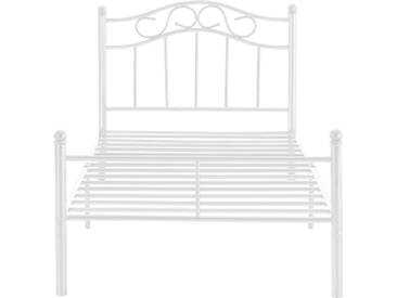 en.casa® Metallbett 120x200 weiß mit Matratze Bettgestell Bett Jugendbett Metall