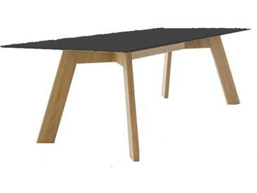 Conmoto Y-Woman Tisch, HPL anthrazit / schwarze Kante / Eiche, H 72 | B 240 | T 100 cm