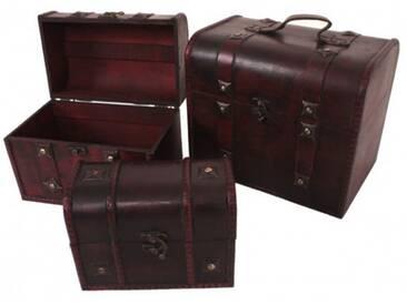 3er Set Truhe Aufbewahrungsbox Box Schatzkiste Kiste Kunststoff Holz Retro Kolonial braun rot