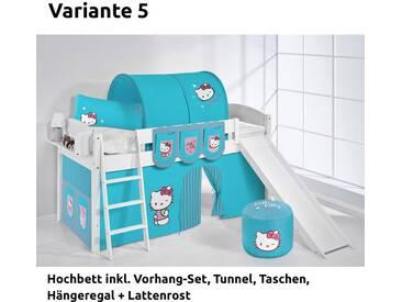Hochbett Spielbett IDA Hello Kitty Türkis, mit Rutsche und Vorhang, weiß, Variante 5