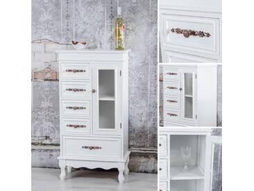 Sideboard Vitrine Konsole Glastür Wohnzimmer Schrank weiß Holz Vintage Stil