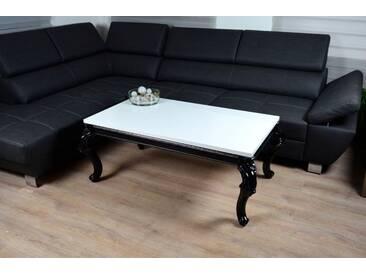 Barock Vintage Couchtisch 100x60x50cm Hochglanz weiss schwarz Lack Tisch Sofa - weiss