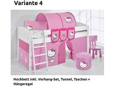 Hochbett Spielbett IDA Hello Kitty Rosa, mit Vorhang, weiß, Variante 4 - Rosa