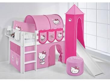 Spielbett Jelle Hello Kitty Rosa - Hochbett Lilokids - Weiß - mit Turm und Rutsche