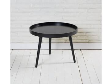 Couchtisch Beistelltisch rund matt schwarz 60x45cm Retro Design Tisch - schwarz