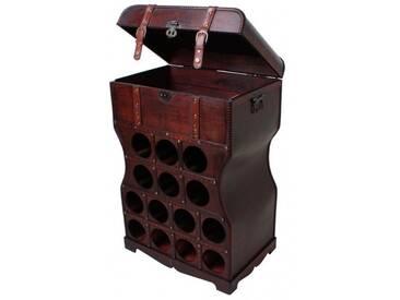 Weinregal Holz Kolonialstil 14 Flaschen Weinschrank Regal Wein Flaschenständer