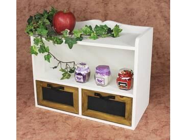 Wandregal Minikommode 12014 Regal 37cm Vintage Shabby Landhaus Küchenregal Weiß - Weiss