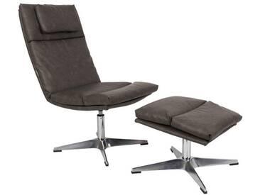 Lounge Sessel Chill mit Hocker - Vintage Grau - Grau