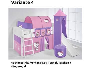 Hochbett Spielbett IDA Hello Kitty Lila, mit Turm, Rutsche und Vorhang, weiß, Variante 4 - Lila