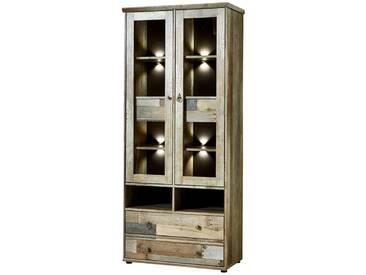 Vitrine inkl. LED-Beleuchtung Vintage Driftwood Braun Branson-36 BxHxT ca. 83x188x39cm - Natur