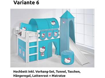 Hochbett Spielbett Jelle Hello Kitty Türkis mit Turm, Rutsche und Vorhang, weiß, Variante 6