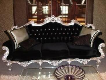 Barock Sofa 3er 3-Sitzer Antik Stil silber Vp0803