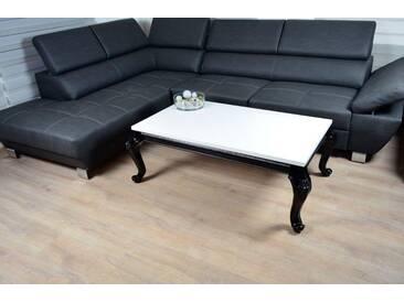 Barock Rokoko Couchtisch 115x65x43cm Hochglanz weiss schwarz Lack Tisch Sofa - weiss