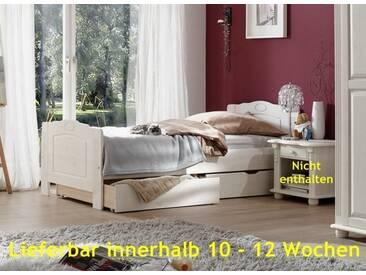 Jugendbett Kinderbett Einzelbett Gästebett Bett Landhausstil Kiefer massiv - Weiss