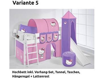 Hochbett Spielbett IDA Hello Kitty Lila, mit Turm, Rutsche und Vorhang, weiß, Variante 5 - Lila