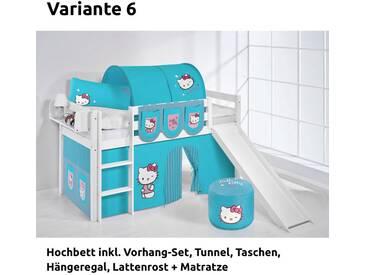 Hochbett Spielbett Jelle Hello Kitty Türkis mit Rutsche und Vorhang, weiß, Variante 6