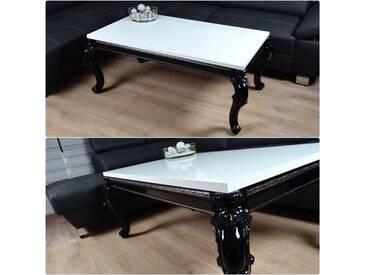 Barock Vintage Couchtisch 115x65x50cm Hochglanz weiss schwarz Lack Tisch Sofa - weiss