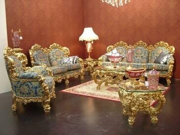 Barock Salon Sofa 2er 3er Sessel Tisch Antik Stil Vp0890