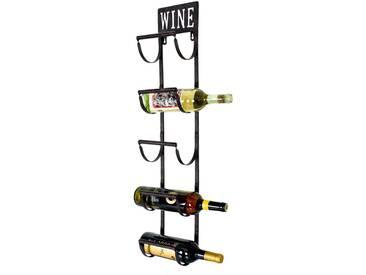 Vintage Design Wein Hänge Regal 5x Glas Flaschen Wand Halter Rost Optik Shabby Chic Harms 504864