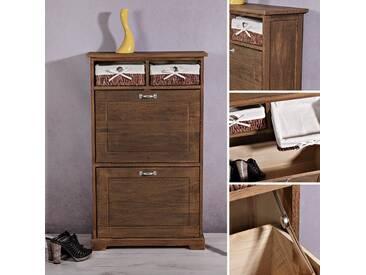 Schuhschrank Shabby Schuhkommode + 2 Körbe Dielen Flur Schrank Vintage Braun - Braun