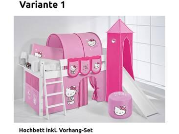 Hochbett Spielbett IDA Hello Kitty Rosa, mit Turm, Rutsche und Vorhang, weiß, Variante 1 - Rosa