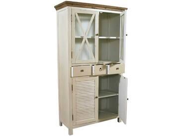 Vitrinenschrank Loire Landhaus Stil Holz Vitrine Vintage Look creme weiß