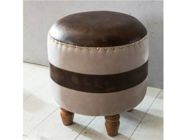 Design Sitzhocker Simba Echtleder / Stoff Braun Fussablage 44x47x44 cm   Retro Holz Hocker mi... - Braun