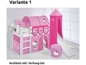 Hochbett Spielbett Jelle Hello Kitty Rosa mit Turm, Rutsche und Vorhang, weiß, Variante 1 - Rosa