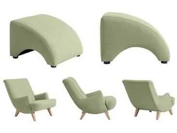 Sessel mit Hocker Relax Retro Leinenoptik Polyester sanft gedeckte Farben