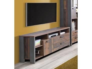 Lowboard TV-Schrank old wood vintage / beton dunkelgrau 161cm Neu