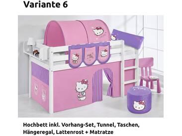 Hochbett Spielbett Jelle Hello Kitty Lila mit Vorhang, weiß, Variante 6 - Lila