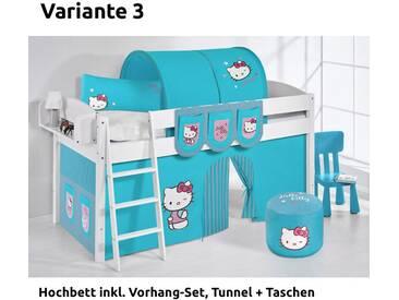 Hochbett Spielbett IDA Hello Kitty Türkis, mit Vorhang, weiß, Variante 3 - weiss