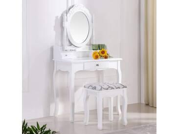 i-flair Schminktisch Spiegeltisch Spiegel inkl. Sitzbank im Barockstil weiß #35