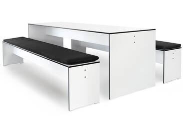 Conmoto Riva - Kombi L / 220 - weiss - Tisch und 2 Bänke - mit Auflagen