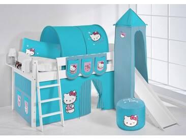 Spielbett IDA Hello Kitty Türkis - Systembett Lilokids mit Rutsche und Turm - Weiß -