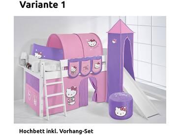 Hochbett Spielbett IDA Hello Kitty Lila, mit Turm, Rutsche und Vorhang, weiß, Variante 1 - Lila
